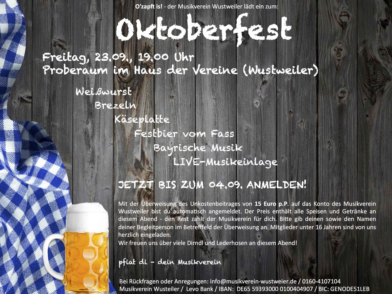 einladung oktoberfest | musikverein wustweiler, Einladung